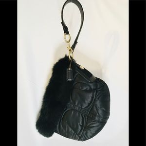 COACH SATIN SIGNATURE RABBIT FUR TRIM Never Used